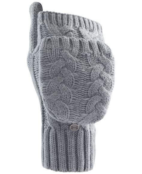 cable knit mittens armour around town flip cable knit mittens in gray