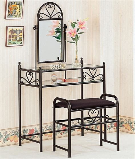 Glass Vanity Table With Mirror Http Stores Ebay Furnituremail Metal Black Glass Top Vanity Table Mirror Fabric Stool