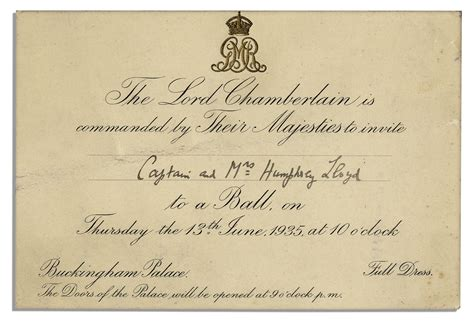 Royal Invitation Letter Exle Lot Detail Invitation To A Royal At King George V S Buckingham Palace