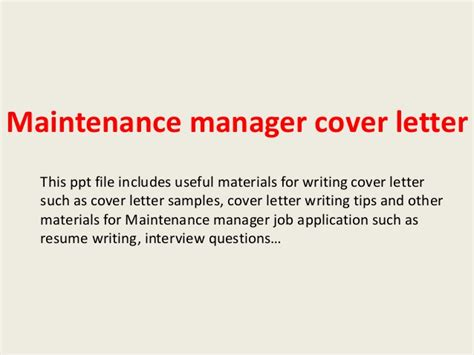 Maintenance Manager Cover Letter Maintenance Manager Cover Letter