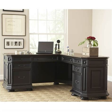 Black L Shaped Office Desk Riverside Furniture Allegro L Shaped Computer Desk In Black 44728