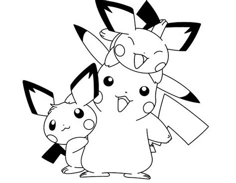 cute pikachu coloring pages pokemon pikachu and two friends are cute coloring page
