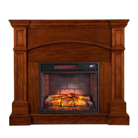 Oak Electric Fireplace by Southern Enterprises Lantana Corner Infrared Electric