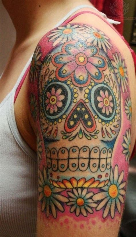 skull with flowers tattoo 138 cool sugar skull tattoos