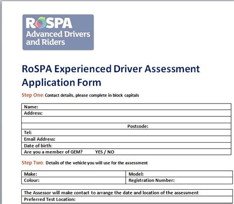driver assessment form template leaflets