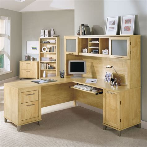 Desk Bush Somerset L Shaped Desk With Hutch Maple Bush Somerset L Shaped Desk
