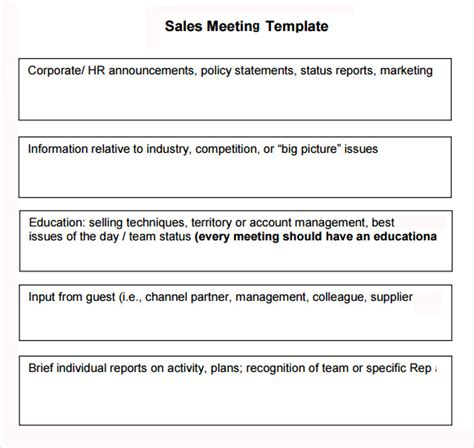sales meeting report template sales meeting agenda 7 free for pdf word