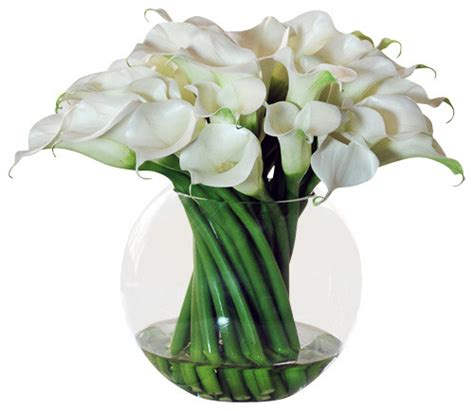 Artificial Flowers Vase by Calla Lilies In Glass Bowl Vase Traditional