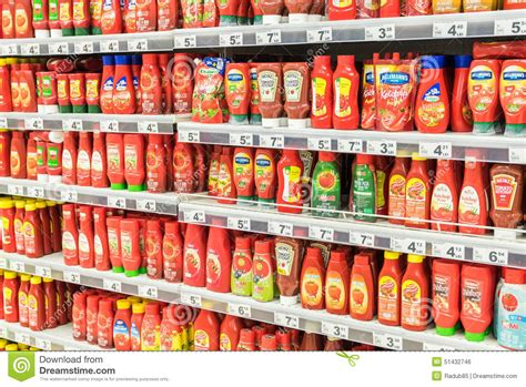 Shelf Of Ketchup by Ketchup Tomato Sauce Bottles On Supermarket Shelf