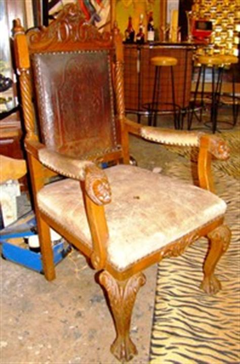Carved Antique Lion's Head Arm Chair   worthgalleries.com
