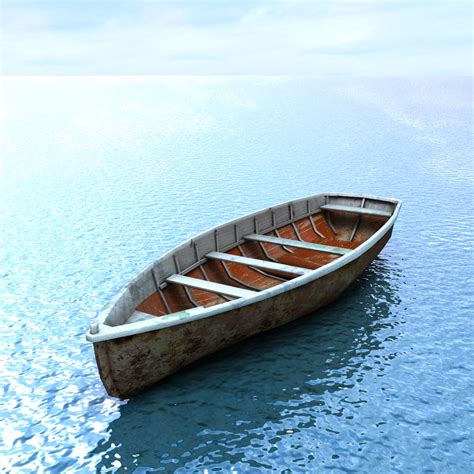 model boats on the water wooden boat 3d model game ready max obj fbx lwo lw