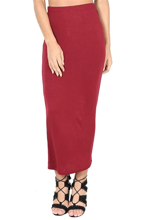 womens midi skirt plain stretchy wiggle pencil