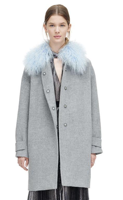 Ho2888 Topi Fashion Winter Wool Grey wool shearling cocoon winter coat in gray lyst
