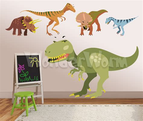 dinosaurs wall stickers bedroom dinosaur decals 5 large dinosaurs wall decals perfect