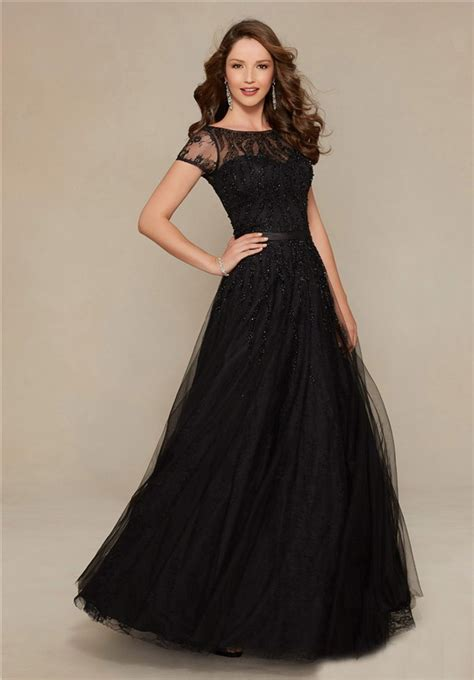 black boat neck a line boat neck long black tulle beaded evening prom
