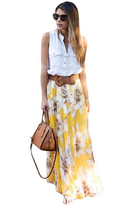 Maxi Rok Jersey Aliyahsaliyyah Bata Xl us 12 31 yellow blossoming floral chiffon maxi skirt dropshipping