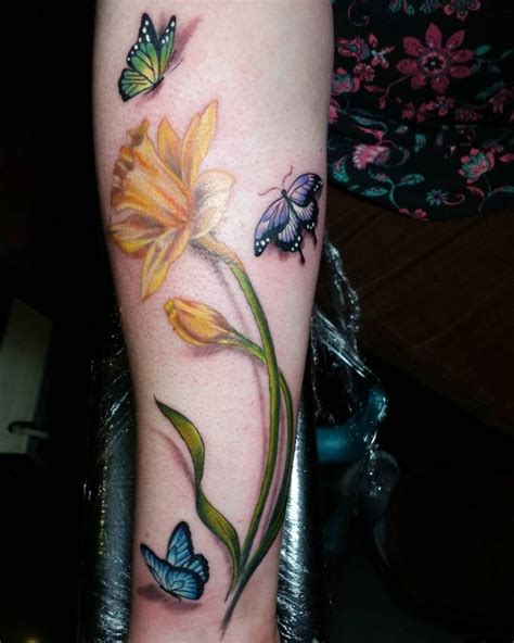 small daffodil tattoo daffodil and butterfly tattoos