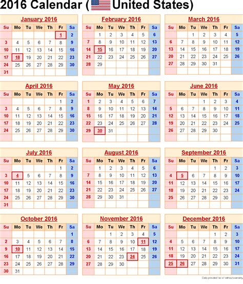 Printable Calendar Us Holidays | printable 2016 calendar with us holidays pdf excel