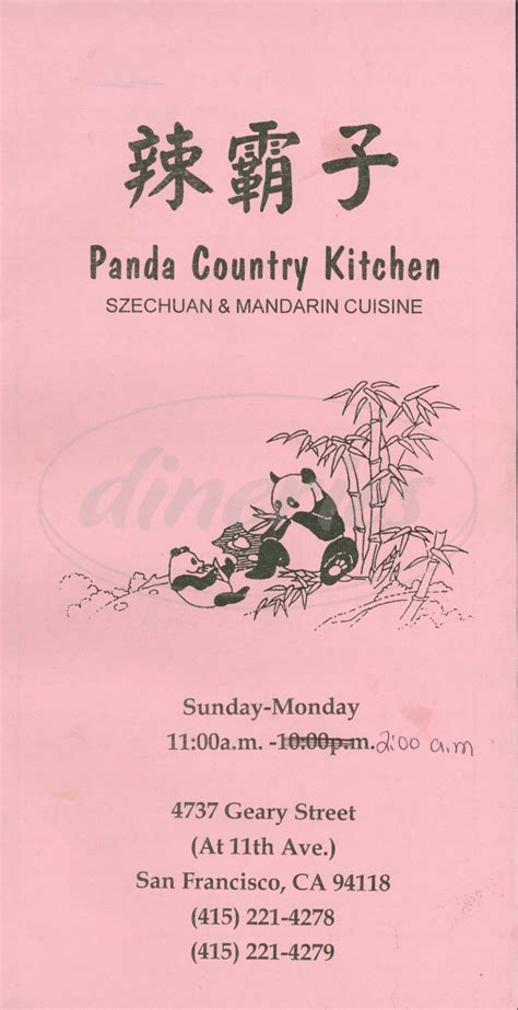 Panda Kitchen Menu by Panda Country Kitchen Menu San Francisco Dineries