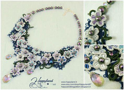 etsy tatting pattern hydrangea necklace needle tatting kit and pattern