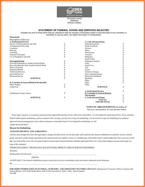 funeral receipt template 5 funeral bill template letter bills
