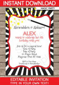magic party invitations template birthday party