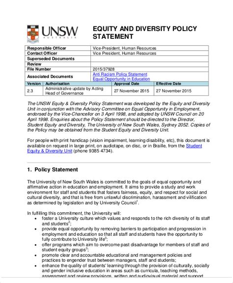 diversity policy template 9 policy statement template noplaceleftworld