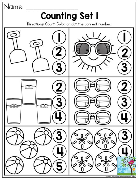 kindergarten activities counting counting summer fun perfect number recognition activity