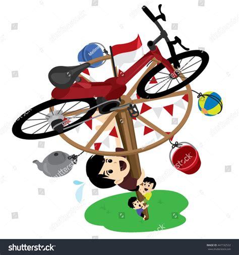 kartun gambar lomba 17 agustus panjat pinang pole climbing indonesian independence stock