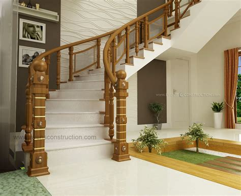 kerala home design staircase wooden handrail design living room interiors pdf