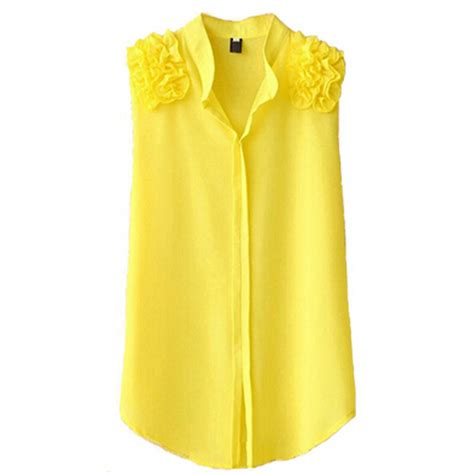 best yellow female shirts sleeveless blouse loose top yellow white