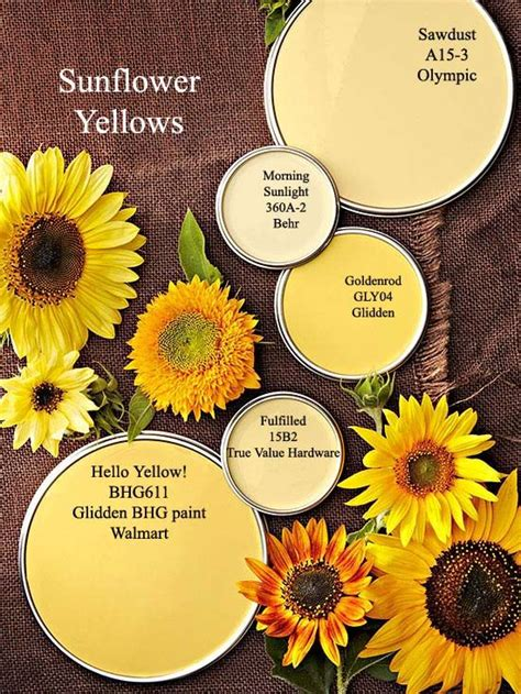 sunflower yellow paint colors  bhgcom color palettes