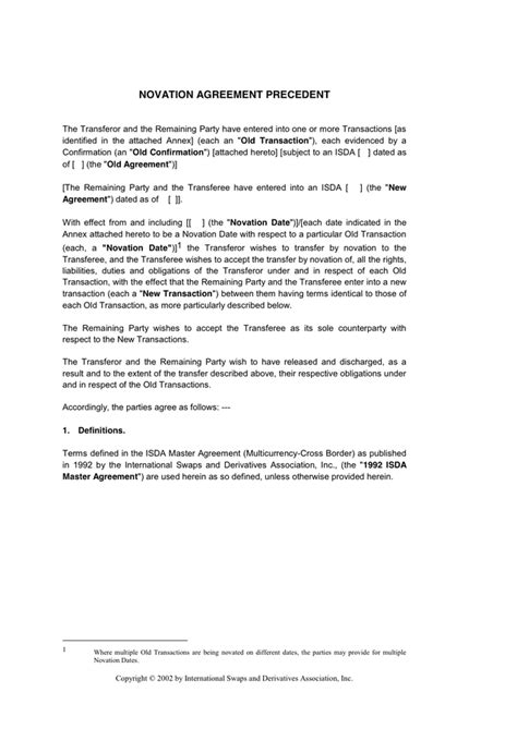 Novation Agreement Letter Novation Agreement In Word And Pdf Formats