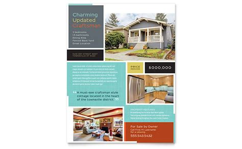 real homes template craftsman home flyer template design
