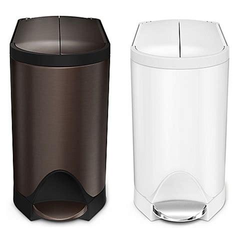 glass bathroom trash can simplehuman 174 10 liter butterfly step trash can bed bath beyond
