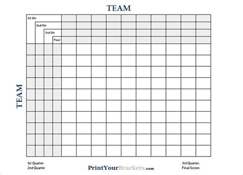 printable football square templates pdf creative template