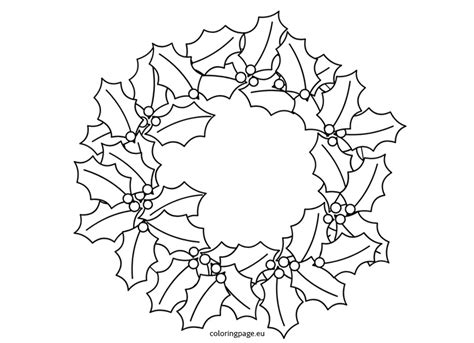 holly wreath coloring page holly wreath coloring page