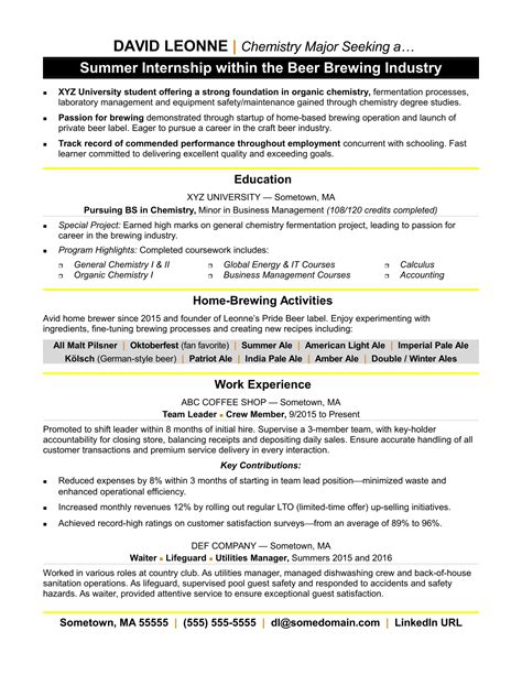 resume for internship exle internship resume sle