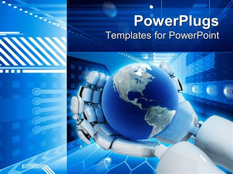 technology templates for powerpoint powerpoint template electronic background world on robot