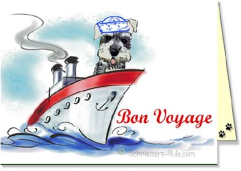 printable greeting cards bon voyage schnauzer dog ecards
