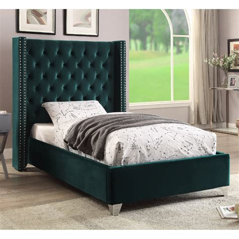 meridian furniture aidengreen t aiden green tufted velvet