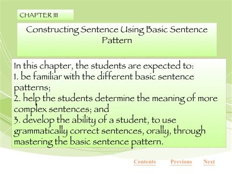 basic sentence pattern meaning developing mastery in understanding sentences