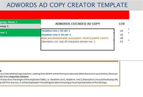 Adwords Extended Ad Creator Template My Excel Templates Adwords Template