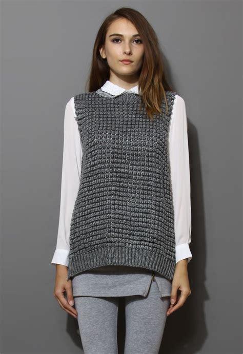 grey knit vest grey fishnet knit vest my style