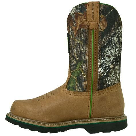 mens steel toe cowboy boots deere mens leather 11in pull on camo steel toe
