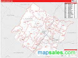augusta county va zip code wall map line style by