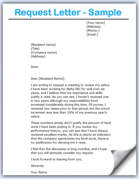 Requesting A Letter Template Writing A Letter Of Request