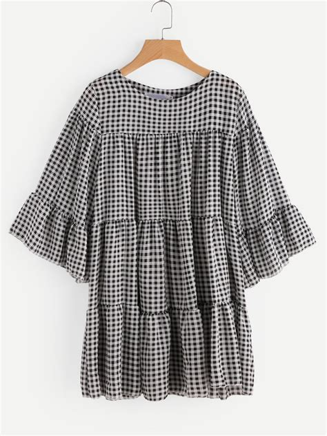sleeve gingham dress gingham tiered bell sleeve dress shein sheinside