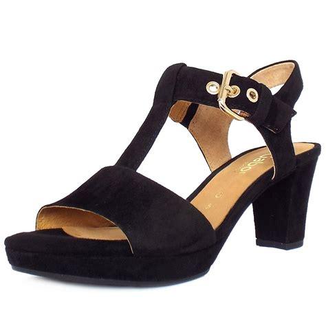 womens black heeled sandals gabor clover s trendy block heel sandals in black