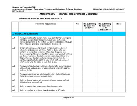Technical Requirements Document Template 6 best images of sle technical document handyman